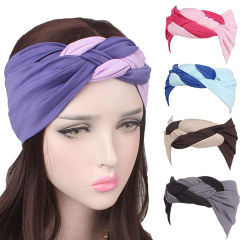 Women's Wrap Hair Band Turban Style Striped Elastic Sport Wide Rim on The Head