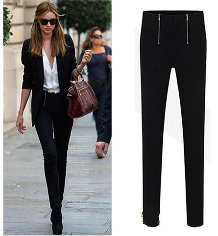 Women's Pencil Pants High Waist Slim Stretch Zip Summer Spring