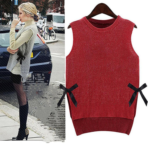 Women's Plus Size O-neck Pullover Winter Sleeveless Knitted Tanks Autumn European Tops