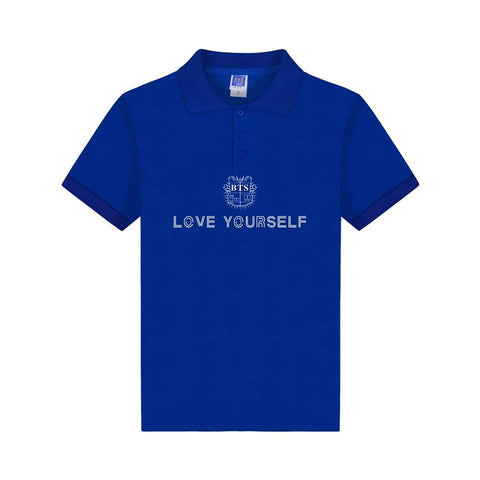 Kpop BTS Love Yourself Polo Shirt Print Summer Bangtan Boys Clothes Plus Size Polos For A.R.M.Y ARMY