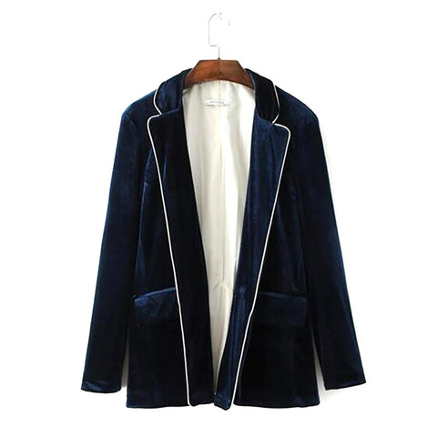 Women's Velour Blazer Vintage Notched Collar Spliced Loose Velvet Outwear