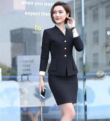 Women's Skirt Suit Set Elegant Uniform Design OL Style for Work Business Office Uniform
