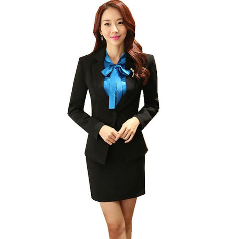Women's Office Wear includes Long Sleeve Blazer Skirt Business Formal Uniform Winter