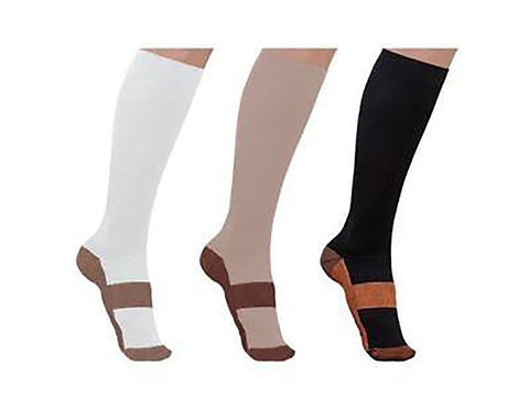 Unisex Adult's Compression Socks Copper Infused Graduated 20-30mmHg