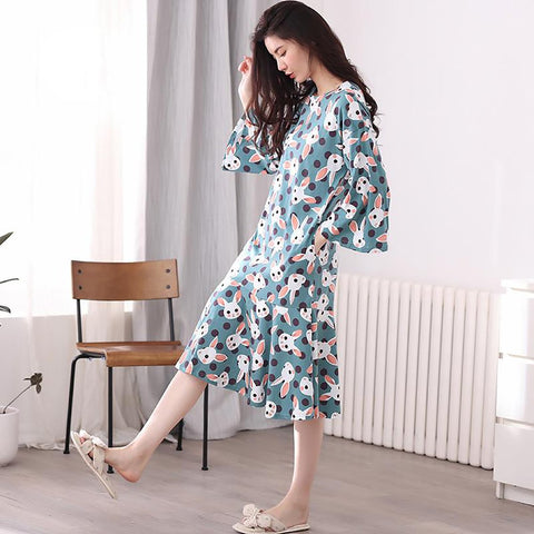 Women's Long Sleeve Loose Cotton Nightgown Cartoon Print Loungewear