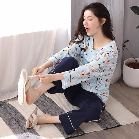 Women's Pijama Set Cotton Cartoon Loose Wide Leg Pants Lounge