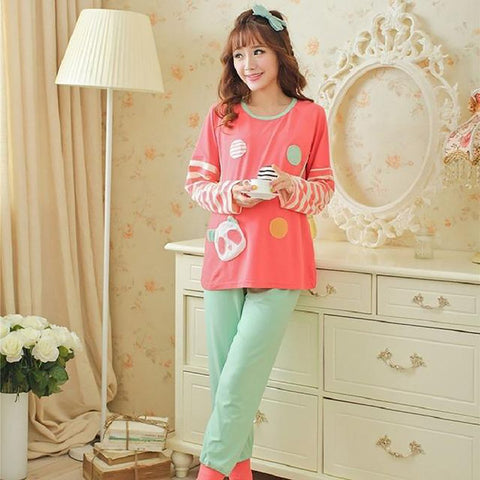 Women's Cotton Pajama Set O-neck Long Sleeves Winter Cartoon Print