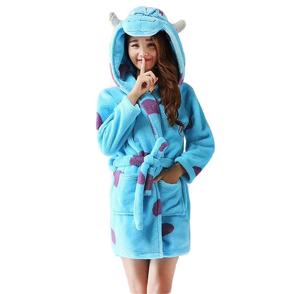 Women's Halloween Bathrobe Sleepwear Winter Velvet Cartoon Panda