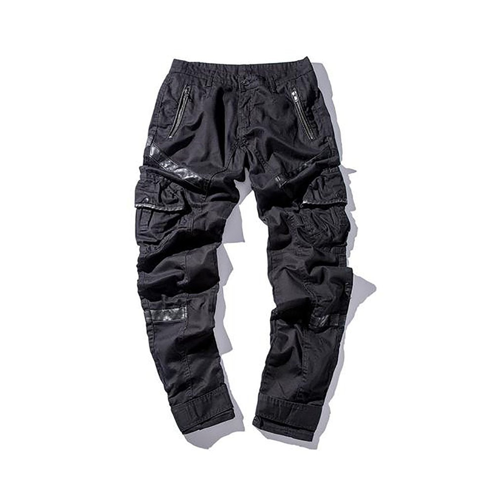 ad123198254f Men s Casual Pant Street Leather Pocket Splice Hip Hop Long – Watch ...
