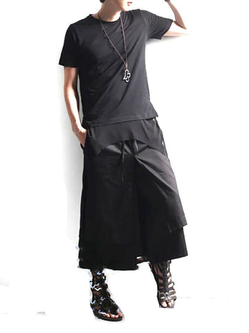 Men And Women with The Section Harem Pants Wide Leg False Two Skirt Loose Eight Casual