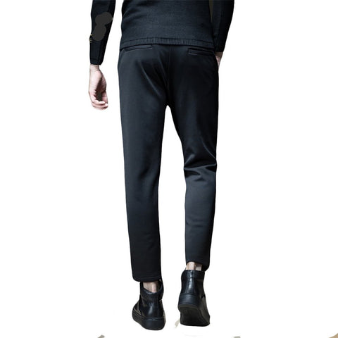 Made Han Edition Cultivate Morality And Embroidered Velvet Thickening Feet Pants Black Male Leisure Trousers B173617354
