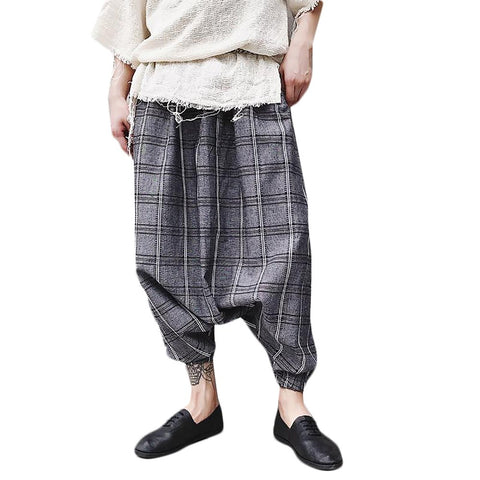 2017 New Autumn Men's Personality Plaid Pants Fluid Big Crotch Loose Harem Hiphop Stage Singer Costumes