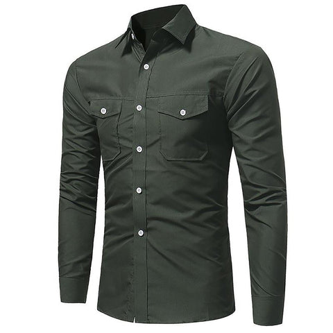 Men's Slim Fit Long Sleeve Semi Formal Shirt Business Turn-down Collar Top with Pocket Decoration