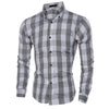 2017 Men Fashion Business Clothing Tops 4 Colors Mens Slim Plaid Shirts Long-Sleeved Shirt Turn-down Collar Shirt 2XL