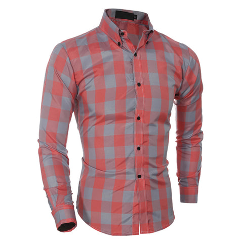 Men's Shirt Long Sleeve Business Slim Plaid Tum-down Collar