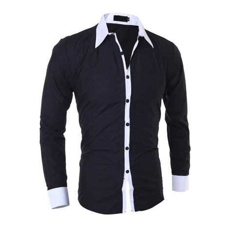Men's Business Shirt Slim Solid Color Long Sleeves Turn-down Collar