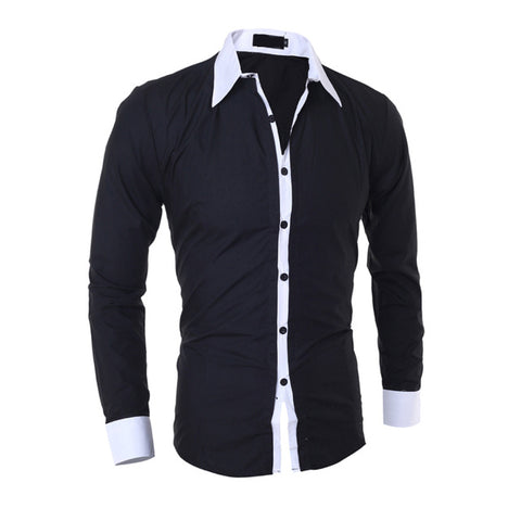 Mens Business Shirts Clothing Tops 5 Colors Mens Slim Solid Color Long Sleeves Turn-down Collar Shirt Male Shirt New
