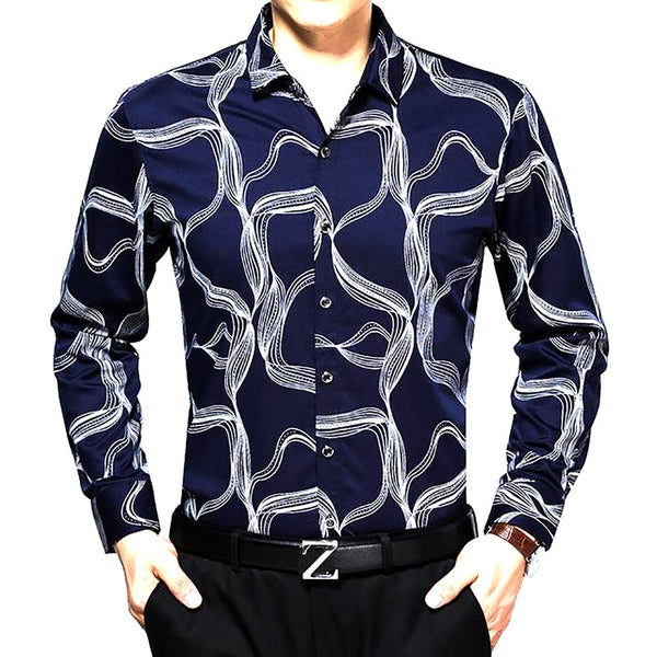 2017 Men's Brand Clothing Long Sleeved Lapel Slim Fit Floral Print Shirts Polyester Fiber Turn-down Collar Regular Tuxedo Shirt