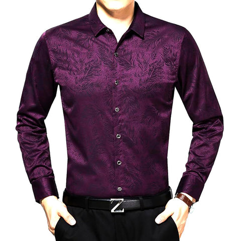 2017 Hip Hop Male Brand High-grade Long Sleeve Shirt Purple Floral Print Fashion Dobby Hot Style of Men's Regular Tuxedo Shirts