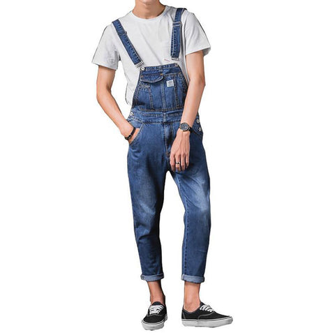 Sokotoo Men's Ankle Length Pocket Casual Denim Bib Overalls Slim Suspenders Jumpsuits Ninth Jeans