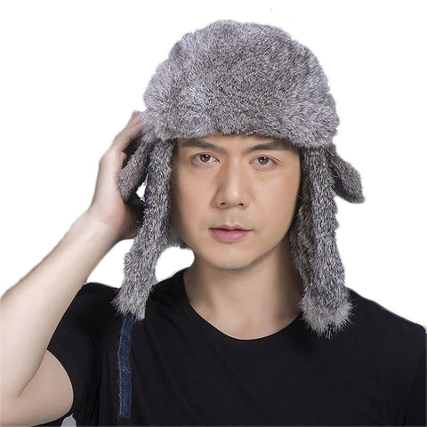 Unisex Adult's Rabbit Fur Bomber Hat Natural Winter Skiing Real Aviator Thicken Earflap