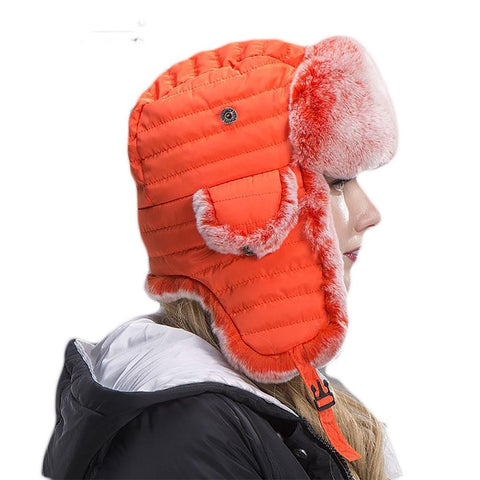Unisex Trapper Hat Rabbit Fur Natural Bomber Winter Skiing