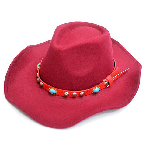 Unisex Woolen Cowboy Hat with Jewel Belt Buckle Wide Brim Western Fedoras