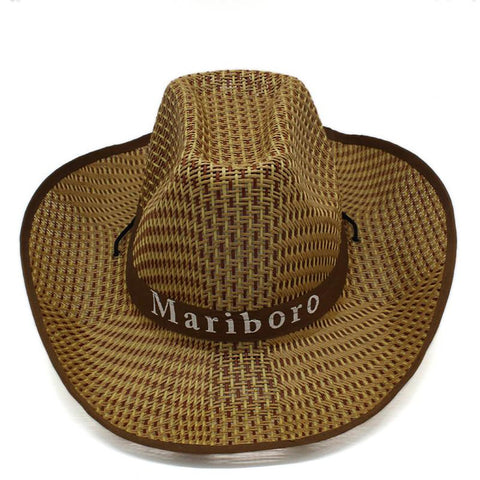 Unisex Plaid Hat Western Cowboy Trend Straw Weaving Tourist Style Wider Brim Outdoor