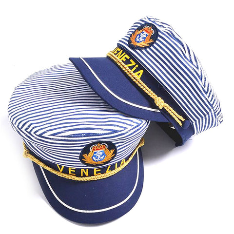 Unisex All Ages Venezia Hat Striped Navy Military Captain Sailor