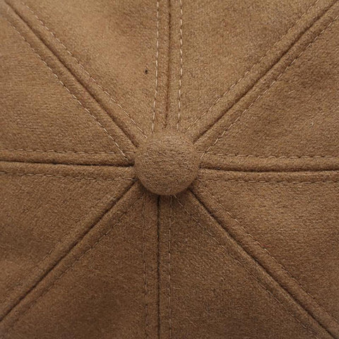 Women's Winter Cap Wool Newsboy Style Vintage Octagonal Solid Color Autumn
