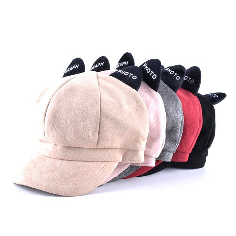 Unisex Cat Ears Cap Novelty Newsboy Style Solid Color Octagonal Casual