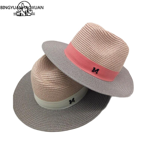 Women's Sun Hats Letter M Printted Wide Straw Panama Style for Beach Vacation Summer