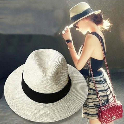 Unisex Straw Hat Classic Outdoor Travel Panama Casual Solid Wide Brim Cowboy