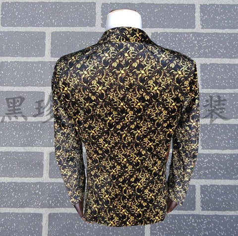 Men's Punk Blazer England Personality Printing for Singers Dancers