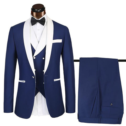 Luxury Brand Suits Mens 3 Pieces Groom Tuxedos Nvay Blue Wedding Prom Quality Suit Man Party Blazer Sets Euro Big Size Men