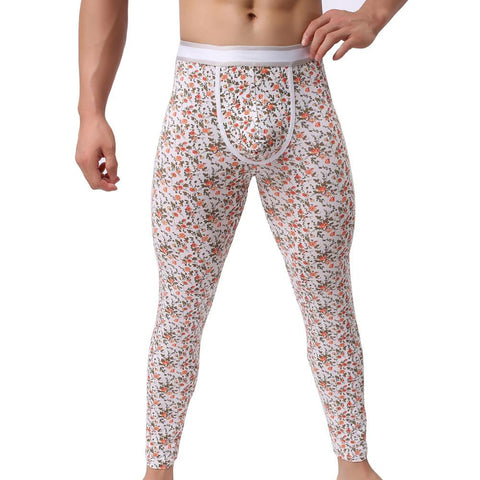 Men's Fashion Sexy U Convex Pouch Skinny Long Pants Flower Underwear Leggings