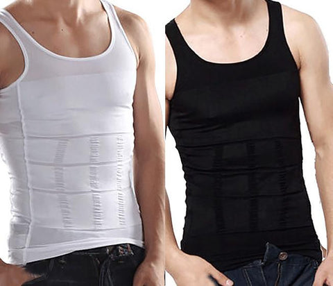 Pack of 2 White And Black Men Slim Body Lift Shaper Belly Fatty BUSTER Underwear Vest Corset Compression Slimming