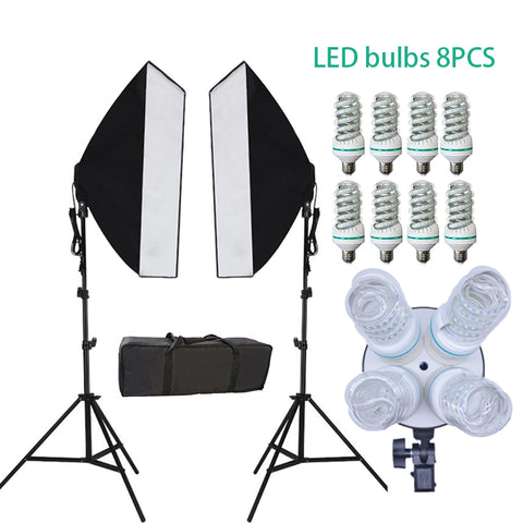 Photography Light Bulb 5500K Studio Kit LED Continuous Lighting 2pcs*4 Lamp holders + tripod 2pcs + Softboxes Diffuser 2pcs