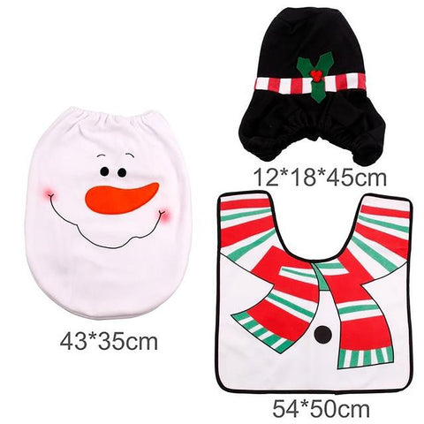 Rug Toilet Seat Cover Bathroom Set Santa Claus Merry Chistmas Decoration
