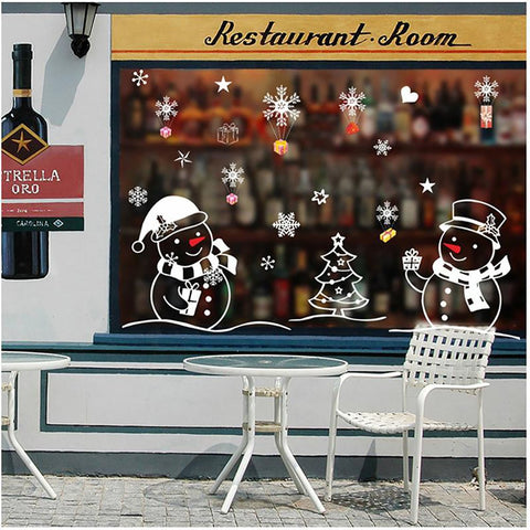White Snowman Christmas Decorative Sticker Background Glass Window for Home Living Room