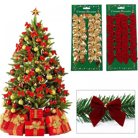 12PCS Pretty Bow Xmas Ornament Christmas Tree Decoration Festival Party Home Bowknots Baubles New Year