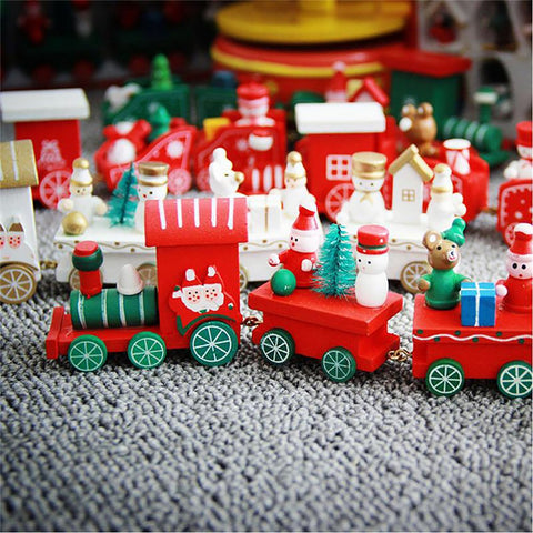Christmas Little Train Home Decoration Popular Wooden Ornaments