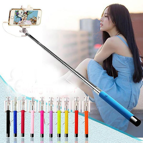 Mini Selfie Stick Foldable Wired Extendable Built-in Shutter for Iphone Samsung Smartphone