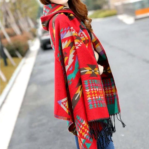 Women's Hooded Poncho Acrylic Wool Fringe