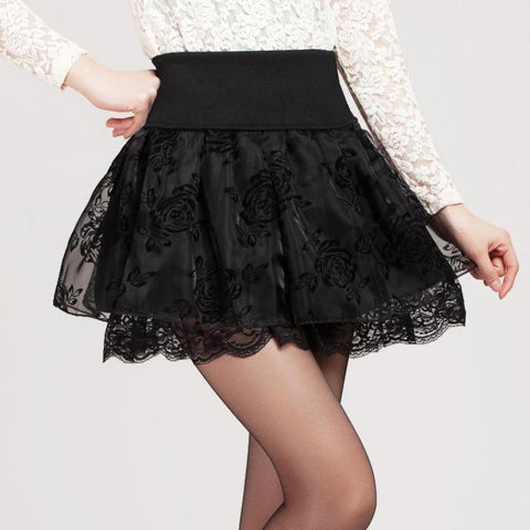 Skirts woman summer preppy style flower bow mini tutu elasticity lace shorts high waist large size