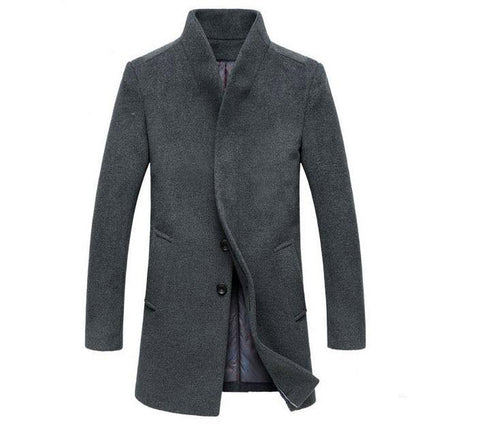 Jacket men winter wool long sections thick coats stand collar casual overcoat