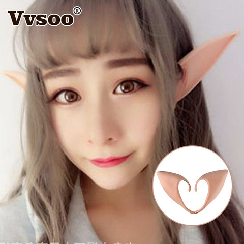 Vvsoo Mysterious Angel Elf Ears Cosplay Accessories Halloween Party Latex Soft Pointed Prosthetic Tips False Ears