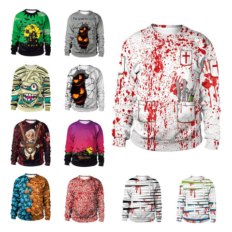 Halloween Cos Clothes 3D Print O-neck Hoodies Party Dress up Street Costumes