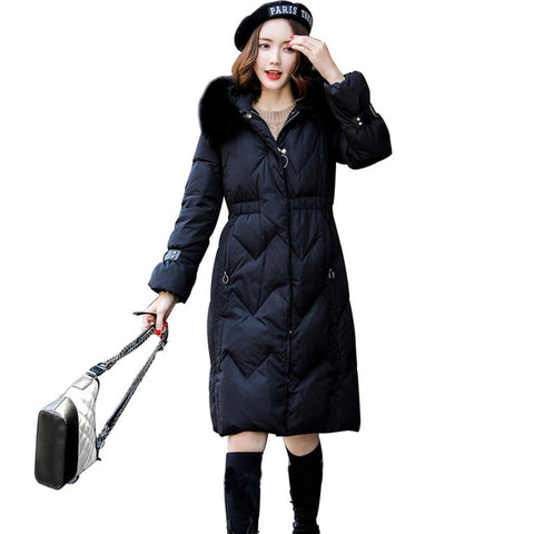 Jacket women winter duck down big real fox fur collar long coat parkas hooded thick slim snow outerwear