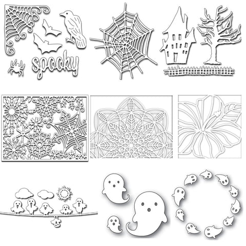 Halloween Elements Metal Cutting Dies Stencil for DIY Scrapbooking Paper Cards Making Decorative Crafts Supplies Diecut